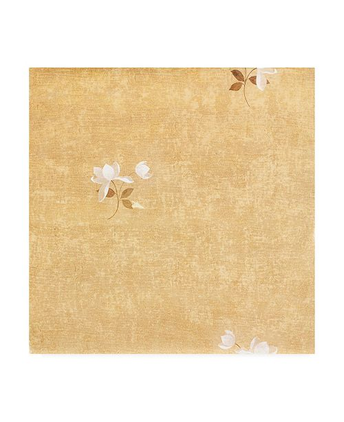 "Trademark Global Pablo Esteban White Flower Over Beige Texture Canvas Art - 15.5"" x 21"""