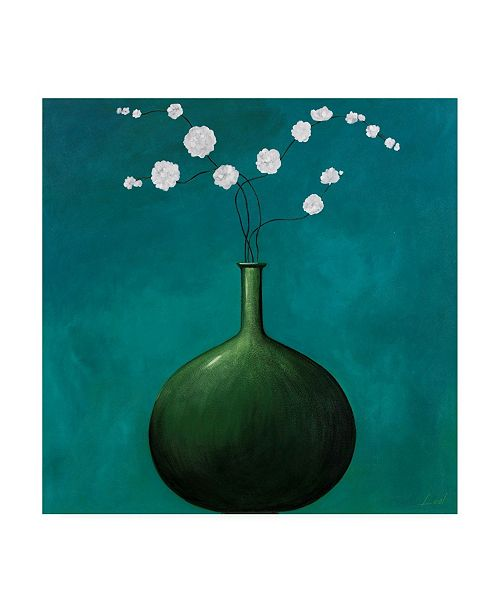 "Trademark Global Pablo Esteban Green Vase Over Blue Canvas Art - 15.5"" x 21"""