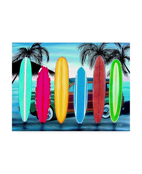 "Trademark Global Patrick Sullivan Woody & Surfboards Canvas Art - 19.5"" x 26"""