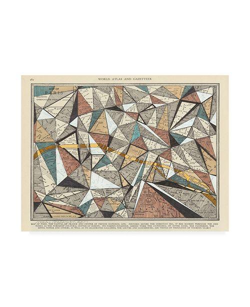"Trademark Global Nikki Galapon Modern Map of Paris Canvas Art - 15.5"" x 21"""