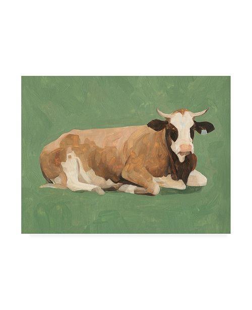 "Trademark Global Emma Scarvey How Now Brown Cow II Canvas Art - 15.5"" x 21"""