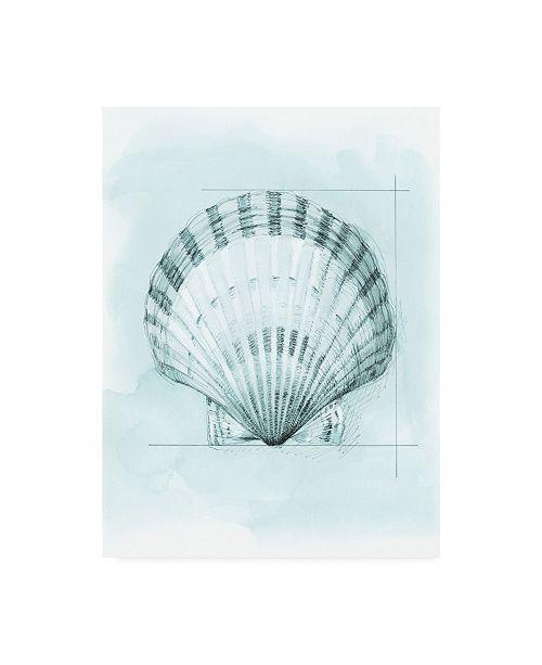"Trademark Global Megan Meagher Coastal Shell Schematic III Canvas Art - 27"" x 33.5"""