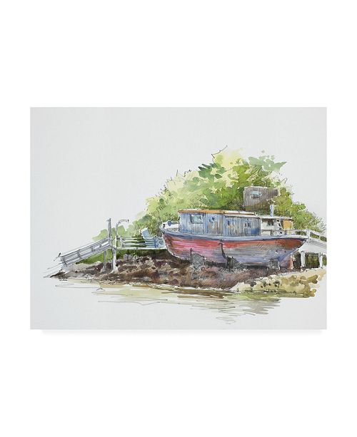 """Trademark Global Peter Snyder Houseboat on the Shore Canvas Art - 27"""" x 33.5"""""""