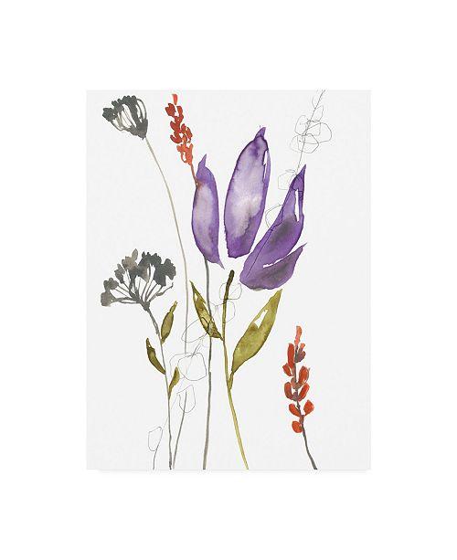 """Trademark Global Jennifer Goldberger Ultraviolet Bouquet I Canvas Art - 27"""" x 33.5"""""""