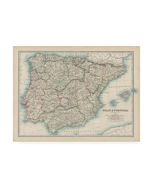 """Trademark Global Johnston Johnstons Map of Spain and Portugal Canvas Art - 19.5"""" x 26"""""""