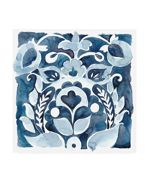 "Trademark Global Chariklia Zarris Indigo Ornament II Canvas Art - 19.5"" x 26"""