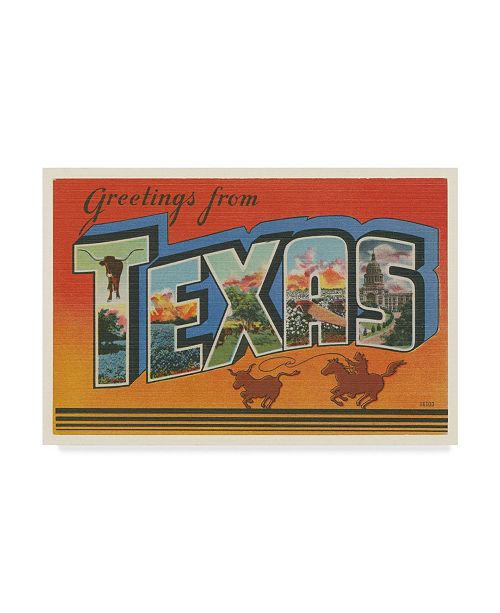"Trademark Global Wild Apple Portfolio Greetings from Texas V2 Canvas Art - 20"" x 25"""
