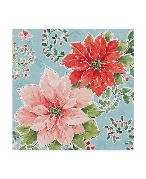 "Trademark Global Daphne Brissonnet Country Poinsettias Ii Blue Canvas Art - 15"" x 20"""