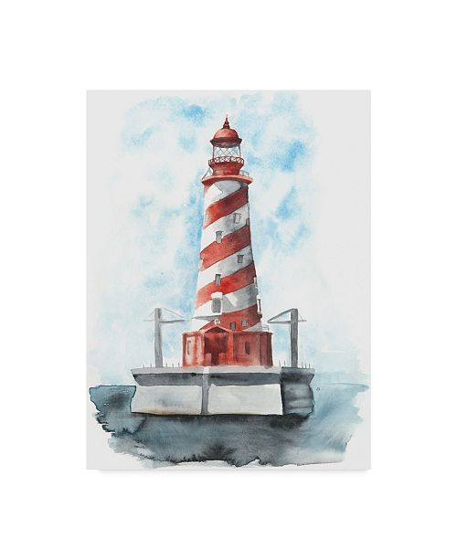 "Trademark Global Naomi Mccavitt Watercolor Lighthouse IV Canvas Art - 37"" x 49"""