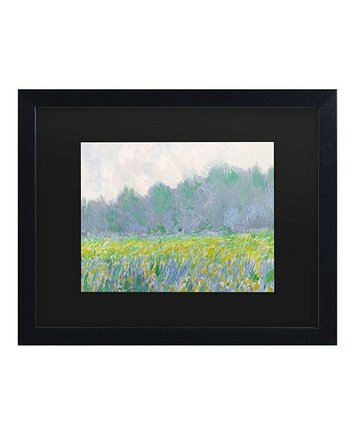 """Trademark Global Claude Monet Field of Yellow Irises at Giverny Matted Framed Art - 15"""" x 20"""""""