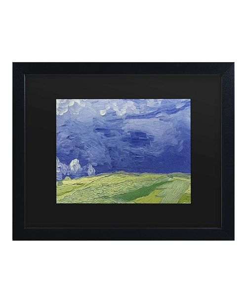 "Trademark Global Vincent Van Gogh Wheatfields Under Thundercloud Matted Framed Art - 15"" x 20"""