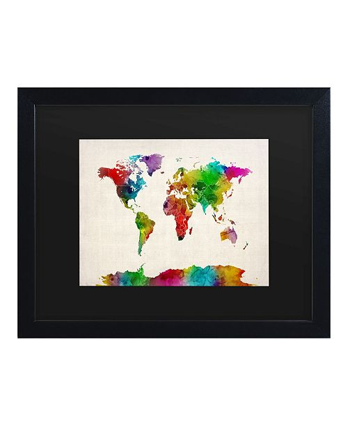 "Trademark Global Michael Tompsett Watercolor World Map II Matted Framed Art - 15"" x 20"""