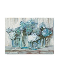 "Carol Rowan Hydrangeas in Glass Jars Blue Canvas Art - 15"" x 20"""