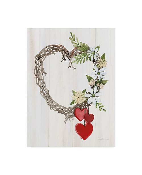 """Trademark Global Kathleen Parr Mckenna Rustic Valentine Heart Wreath II Canvas Art - 20"""" x 25"""""""
