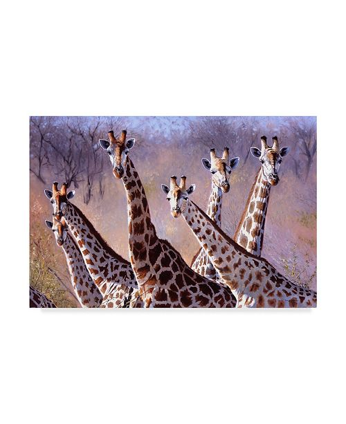 "Trademark Global Pip Mcgarry Giraffes Group Canvas Art - 15"" x 20"""