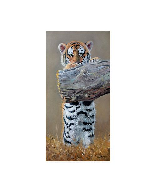 "Trademark Global Pip Mcgarry Tiger Cub Standing Up Canvas Art - 15"" x 20"""