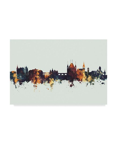 "Trademark Global Michael Tompsett Thun Switzerland Skyline IV Canvas Art - 37"" x 49"""