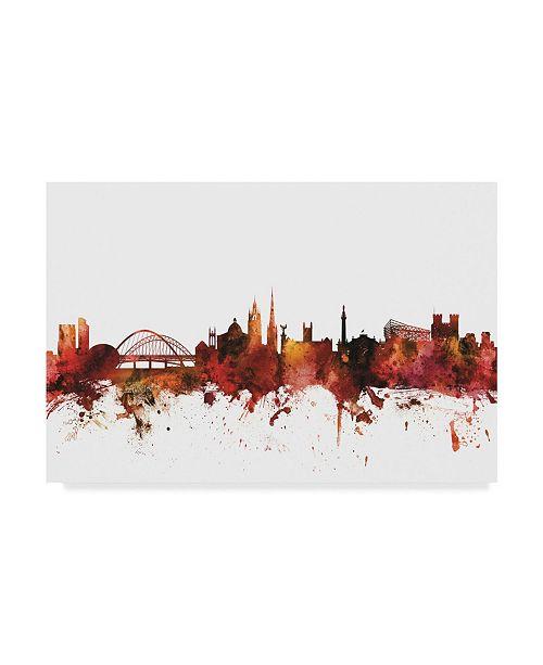 "Trademark Global Michael Tompsett Newcastle England Skyline Red II Canvas Art - 37"" x 49"""