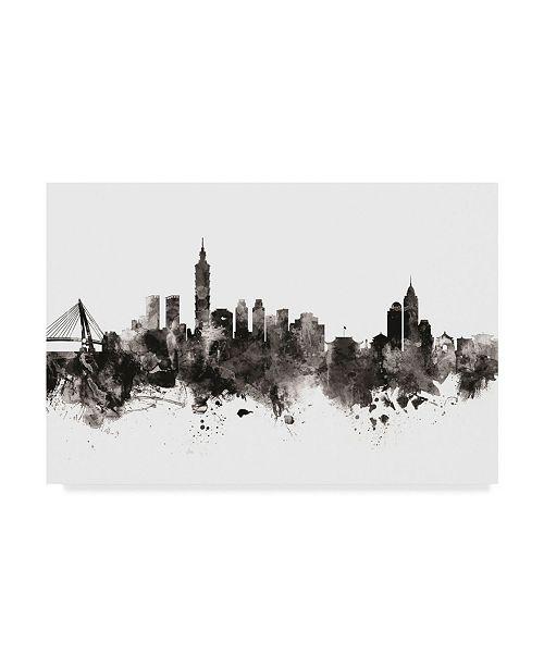 "Trademark Global Michael Tompsett Taipei Taiwan Skyline Black White Canvas Art - 20"" x 25"""