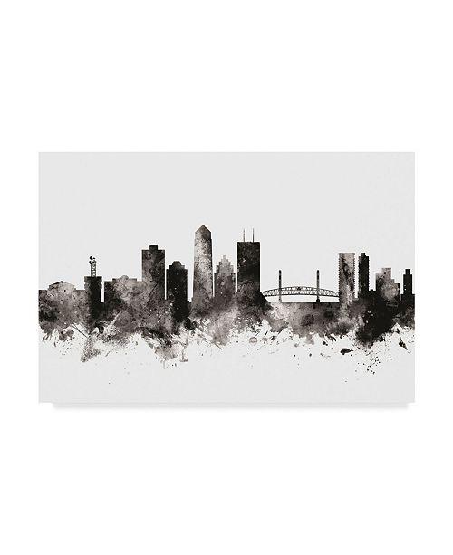 """Trademark Global Michael Tompsett Jacksonville Florida Skyline Black White Canvas Art - 15"""" x 20"""""""