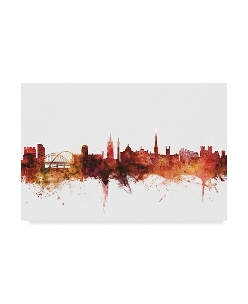 "Trademark Global Michael Tompsett Newcastle England Skyline Red Canvas Art - 20"" x 25"""