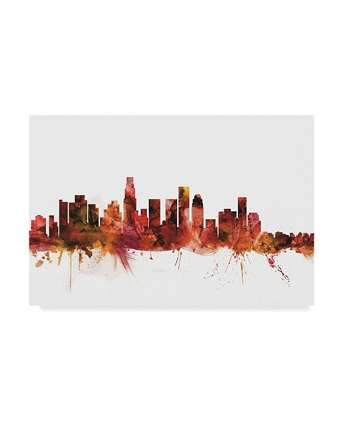 "Trademark Global Michael Tompsett Los Angeles California Skyline Red Canvas Art - 20"" x 25"""
