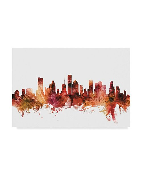 "Trademark Global Michael Tompsett Houston Texas Skyline Red Canvas Art - 15"" x 20"""