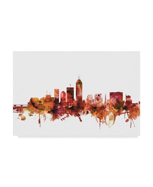 "Trademark Global Michael Tompsett Indianapolis Indiana Skyline Red Canvas Art - 15"" x 20"""