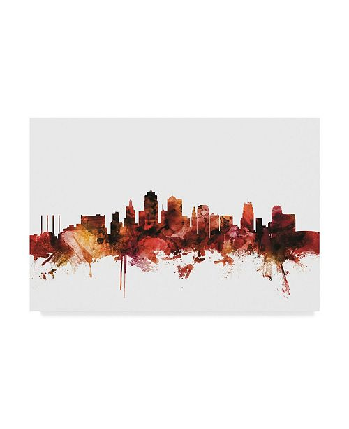 "Trademark Global Michael Tompsett Kansas City Missouri Skyline Red Canvas Art - 20"" x 25"""