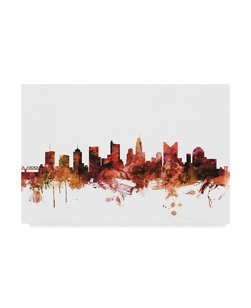 "Trademark Global Michael Tompsett Columbus Ohio Skyline Red Canvas Art - 20"" x 25"""