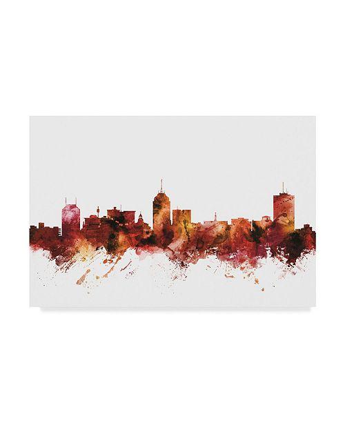"""Trademark Global Michael Tompsett Fresno California Skyline Red Canvas Art - 15"""" x 20"""""""