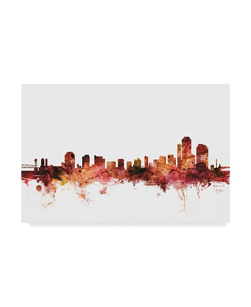 "Trademark Global Michael Tompsett Wilmington Delaware Skyline Red Canvas Art - 20"" x 25"""