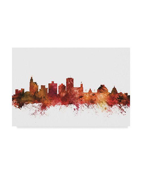 """Trademark Global Michael Tompsett Jackson Mississippi Skyline Red Canvas Art - 15"""" x 20"""""""