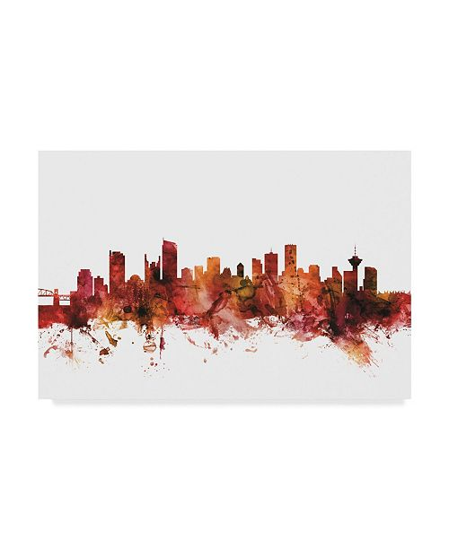"Trademark Global Michael Tompsett Vancouver Canada Skyline Red Canvas Art - 20"" x 25"""