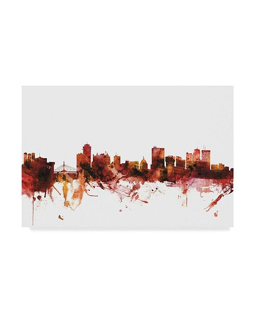 "Trademark Global Michael Tompsett Winnipeg Canada Skyline Red Canvas Art - 20"" x 25"""