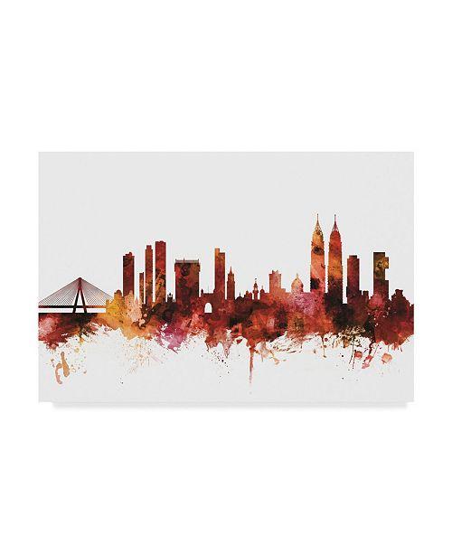 "Trademark Global Michael Tompsett Mumbai Skyline India Bombay Red Canvas Art - 20"" x 25"""