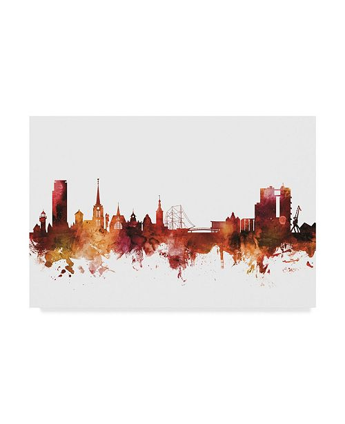 "Trademark Global Michael Tompsett Halmstad Sweden Skyline Red Canvas Art - 15"" x 20"""