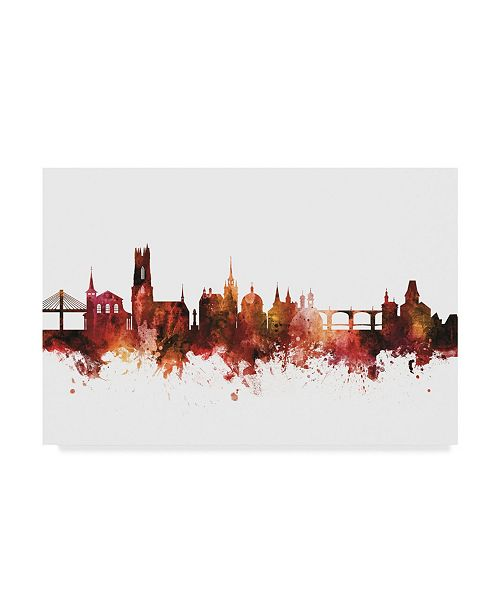"Trademark Global Michael Tompsett Fribourg Switzerland Skyline Red Canvas Art - 15"" x 20"""