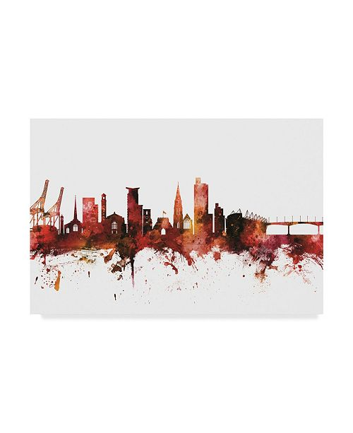 "Trademark Global Michael Tompsett Southampton England Skyline Red Canvas Art - 20"" x 25"""