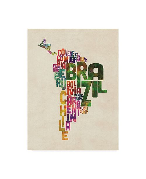 """Trademark Global Michael Tompsett Typography Map of Central and South America Canvas Art - 37"""" x 49"""""""