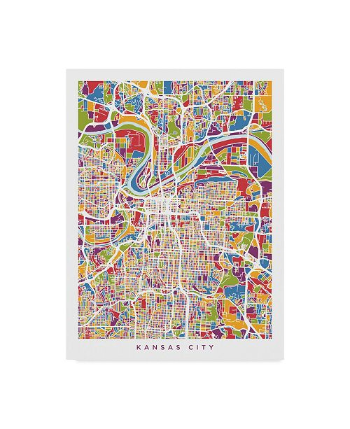 "Trademark Global Michael Tompsett Kansas City Missouri City Map Canvas Art - 20"" x 25"""