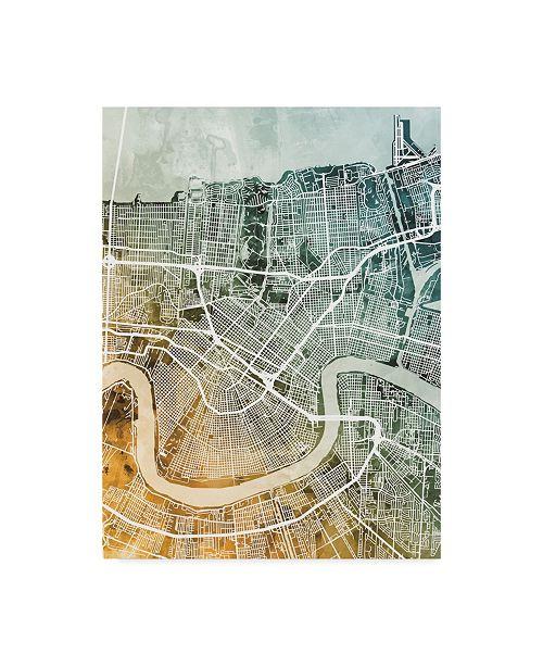 "Trademark Global Michael Tompsett New Orleans City Street Map Teal Orange Canvas Art - 15"" x 20"""