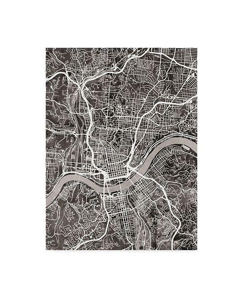 "Trademark Global Michael Tompsett Cincinnati Ohio City Map Black Canvas Art - 15"" x 20"""