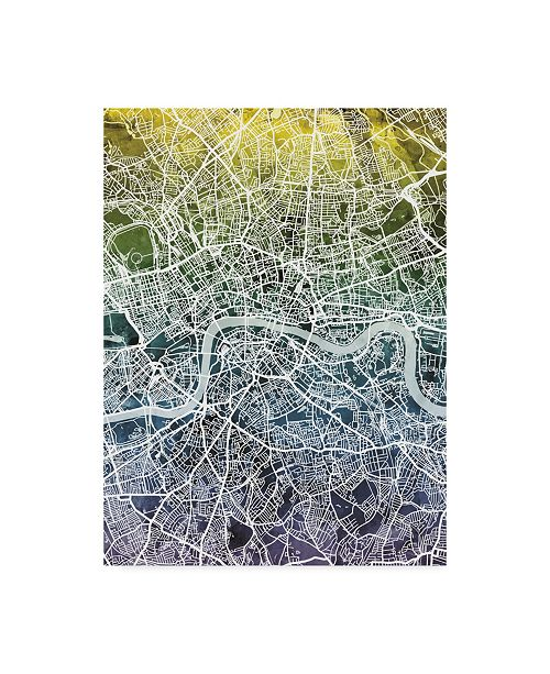 "Trademark Global Michael Tompsett London England Street Map Blue Yellow Canvas Art - 15"" x 20"""