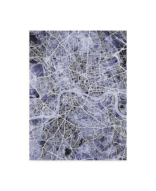 "Trademark Global Michael Tompsett London England Street Map Blue Canvas Art - 20"" x 25"""
