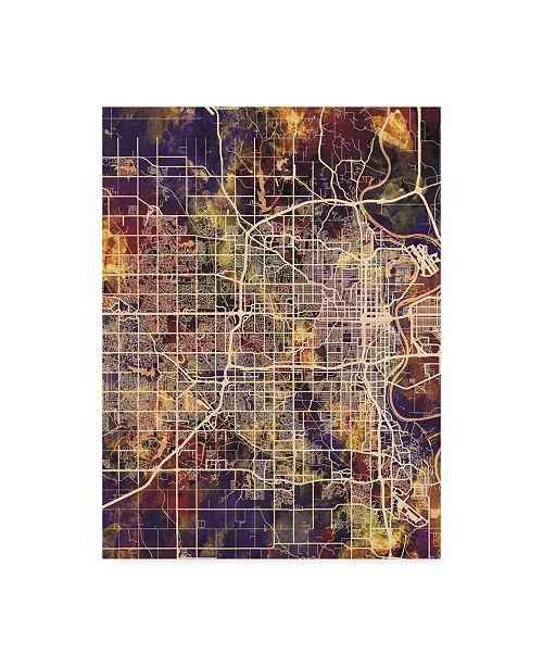 "Trademark Global Michael Tompsett Omaha Nebraska City Map II Canvas Art - 20"" x 25"""