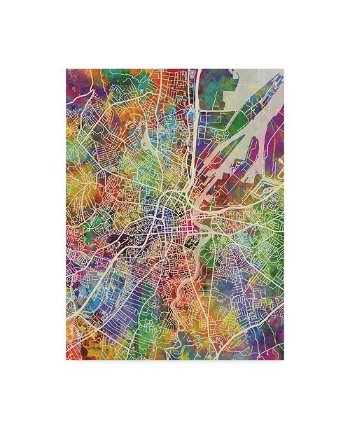 "Trademark Global Michael Tompsett Belfast Northern Ireland City Watercolor Map Canvas Art - 20"" x 25"""