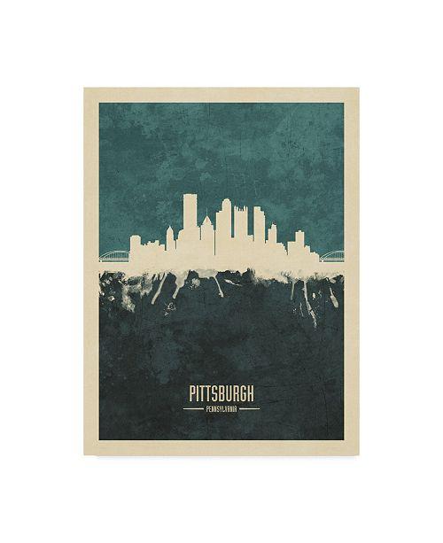 "Trademark Global Michael Tompsett Pittsburgh Pennsylvania Skyline Teal Canvas Art - 37"" x 49"""