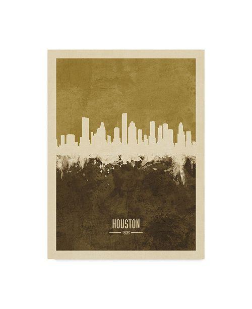 "Trademark Global Michael Tompsett Houston Texas Skyline Brown Canvas Art - 20"" x 25"""