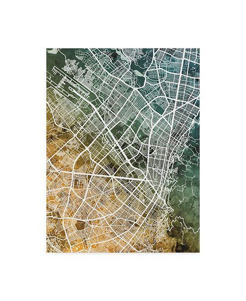 "Trademark Global Michael Tompsett Bogota Colombia City Map Teal Orange Canvas Art - 20"" x 25"""